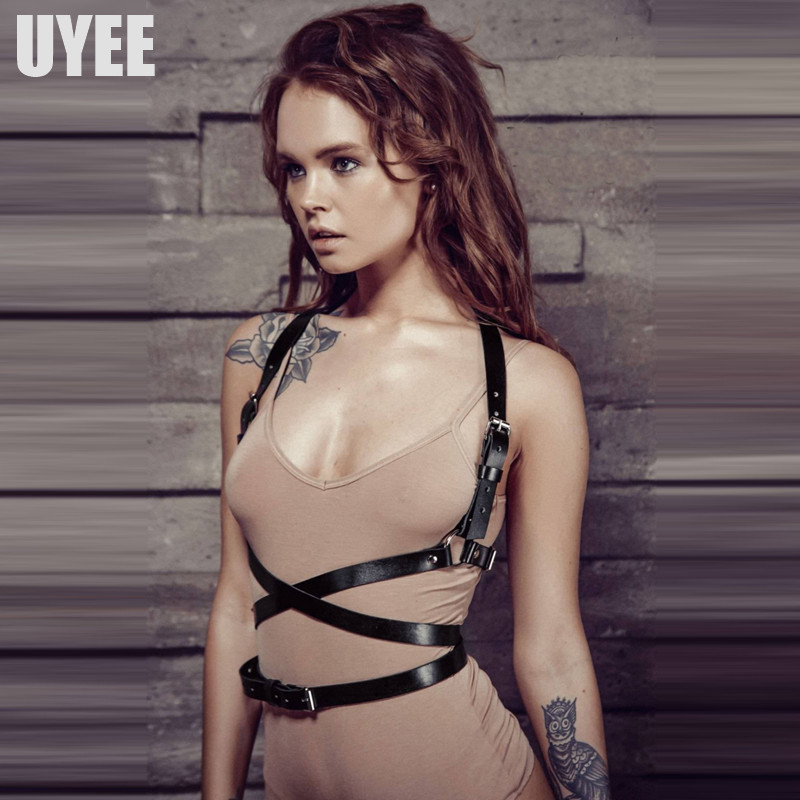 UYEE Fashion Punk Harajuku Body Garters Faux Leather Bondage Cage Sculpting Harness Waist   Belt   Straps Suspenders   Belts   LB-007