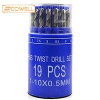 HSS 19pcs Straight Shank Twist drill bit sets ,DIN338 fully ground Jobber drill bits Kit with Plastic Box for Drilling Metal