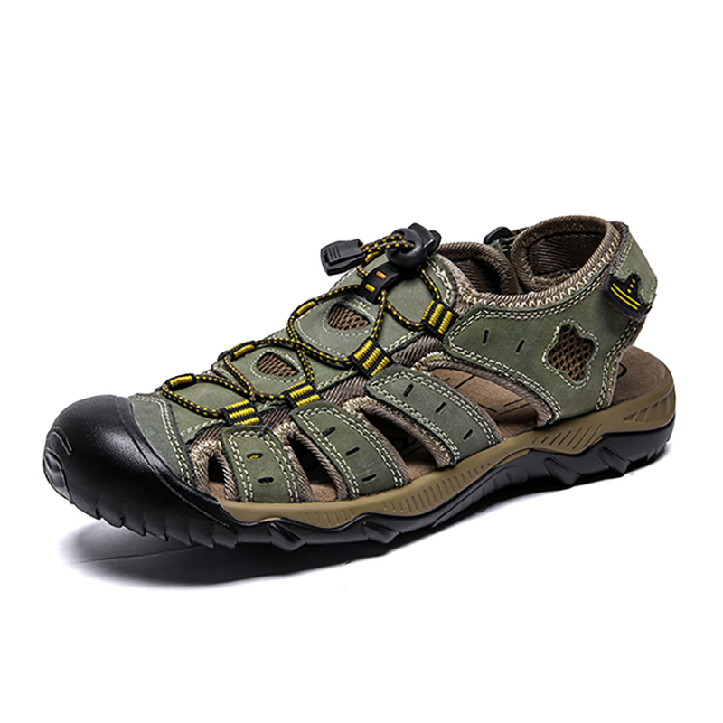 Clorts Genuine Leather Outdoor Beach Sandals for Men Lightweight Hiking Sandals Breathable Non-slip Sport Casual SandalsClorts Genuine Leather Outdoor Beach Sandals for Men Lightweight Hiking Sandals Breathable Non-slip Sport Casual Sandals