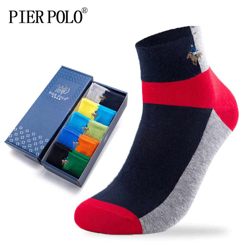 PIERPOLO Men Socks New Fashion High Quality Brand Happy Socks Cotton Meia Casual Men's Socks Funny Embroidery Summer Socks
