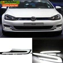 eeMrke LED Daytime Running Lights For VW Volkswagen GOLF 7 Mk7 White DRL Light Fog Lamp Cover Kits + Yellow Turn Signal