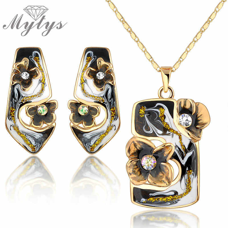 Mytys High Quality Retro Vintage Enamel Earrings Necklace Jewelry Sets Yellow GP N925