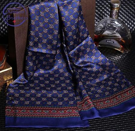Mens 100/% Silk Long Scarf Cravat Scarives Black Blue Dot/_/_Spring Autumn Winter