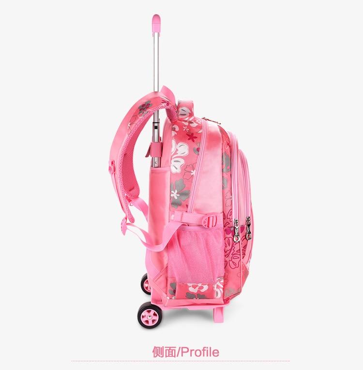 Wodoodporne dzieci plecak szkolny na kółkach plecak torba szkolna dla dzieci Grils Kids Wheel tornister plecaki studenckie torby Mochila w Torby szkolne od Bagaże i torby na  Grupa 3