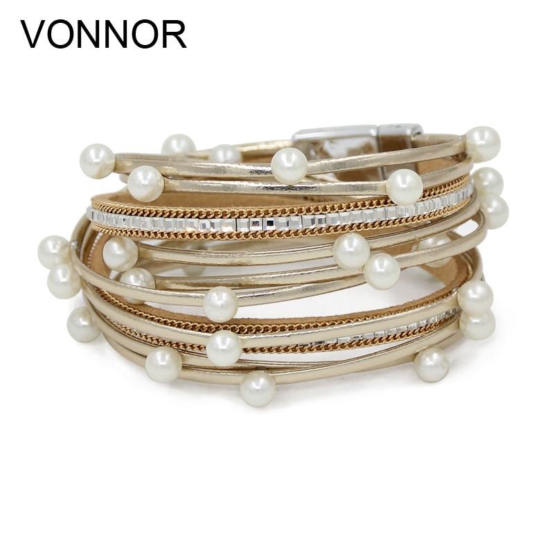 Ausdrucksvoll Vonnor Modische Frauen Armbänder Luxus Leder Seil Imitation Perle Multi-schicht Wickel Armband Weiblichen Schmuck