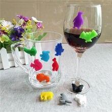 12 шт, 3*2,2*1 см, силиконовая чашка в виде животных, бокал для вина, подвески, вечерние, на год, Рождество, подарок, этикетка, бокал для вина, es, маркер, распознаватель