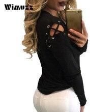 Wimuzz Novelty Off Shoulder Lace Up T Shirt Women Sexy Hollow Out Tshirt Tops Autumn Long Sleeve Black Tee Shirt