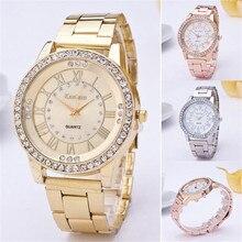FHD Fashion  Women's Men's Crystal Rhinestone Metal Stainless Steel Analog Quartz Wrist Watch Free shipping