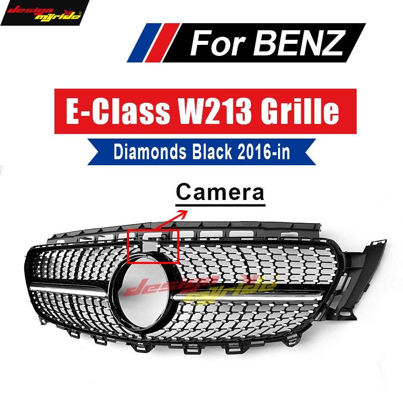 For Mercedes W213 Sport Diamond grille grill ABS Black With Camera E Class E200 E250 E300