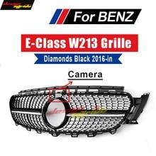 For Mercedes W213 Sport Diamond grille grill ABS Black With Camera E-Class E200 E250 E300 E350 E400 E500 E550 E63 look 2016-2018