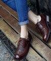 Классический Vintage Акцентом женская Кисточкой Оксфорд обувь на Плоской Подошве Зашнуровать Обувь Кафе Коричневый