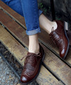 Classic Vintage Brogue women's Tassel Oxford shoes Flat Lace Up Shoes Caffe Brown