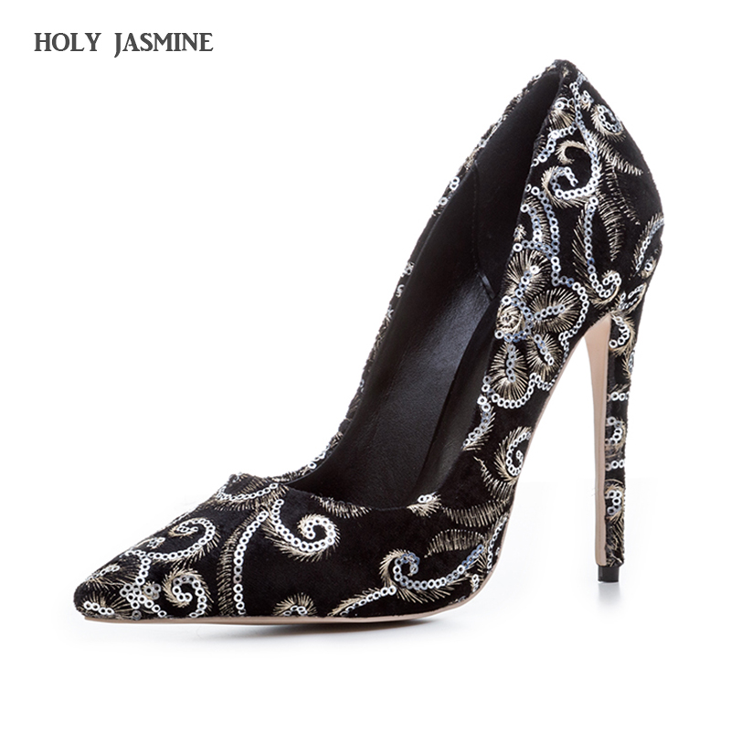 HOLY JASMINE 2017 New Embroidery big size 33-43 pointed toe women shoes woman sexy thin high heels brand pumps party nightclub
