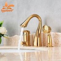 Suguword золото/матовый/orb/хром ванна кран Одной ручкой три отверстия новейшие Дизайн вытащить ручной душ