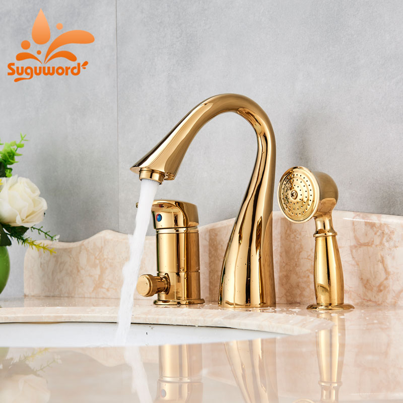 Suguword Gold/Brushed/orb/chrome Bath Tub Faucet One Handle Three Holes Newest Design Pull Out hand shower solid brass bath tub faucet with pull out hand held shower chrome finish three handles