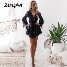 Hollow Out White Dress Sexy Women Mini Chiffon Criss Cross Semi-sheer Plunge V-Neck Long Sleeve Crochet Lace Black