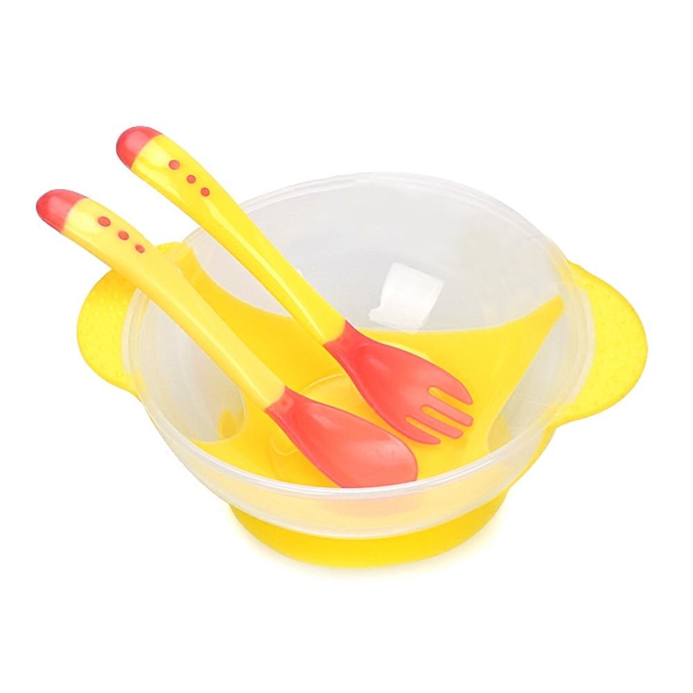 Детская посуда помощь миски для корма фруктовые тренировочные блюда и чашка практичный 3 шт удобный PP рис - Цвет: yellow