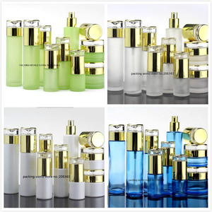 Image 5 - 30ml frosted/green/blue/white glass bottle gold pump lid for serum/lotion/emulsion/foundation/anti UV/essence/skin care