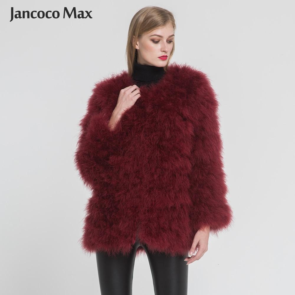 2019 nouveauté femmes réel manteau de fourrure d'autruche décontracté Lady fourrure naturelle luxe veste d'extérieur S7381