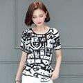 Mujeres negro camiseta 2017 verano estilo coreano de la cintura delgada del o-cuello de manga corta moda de tinta impresa tops mujer plus size clothing