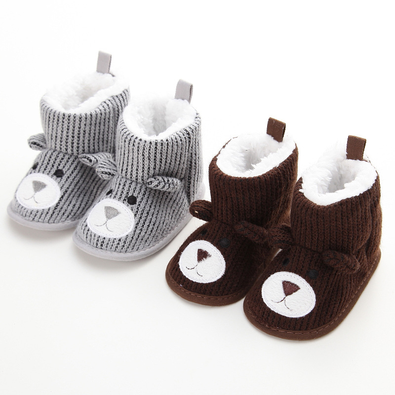 Cute Cartoon Bear Baby Winter Snow Boot Infant Toddler Boy Girl Super Warm Prewalker Soft Sole Knitted Boots Shoes 0-18M