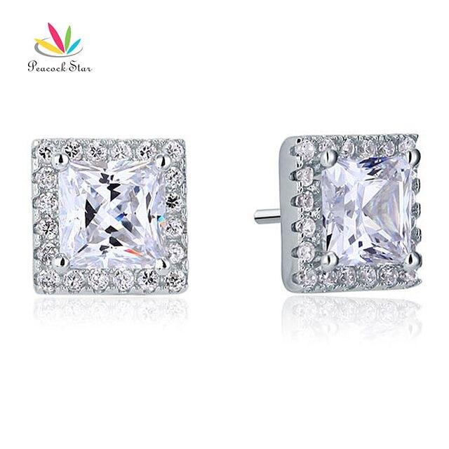 Estrella del pavo real 2 Carat Princess Creado Diamantes de Halo Stud Solid 925 Pendientes de Plata de ley Joyería CFE8071