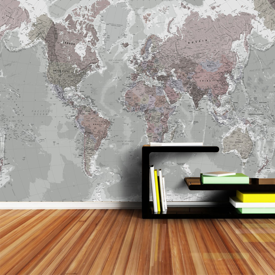 Gray Modern World Map Wall Decal 6