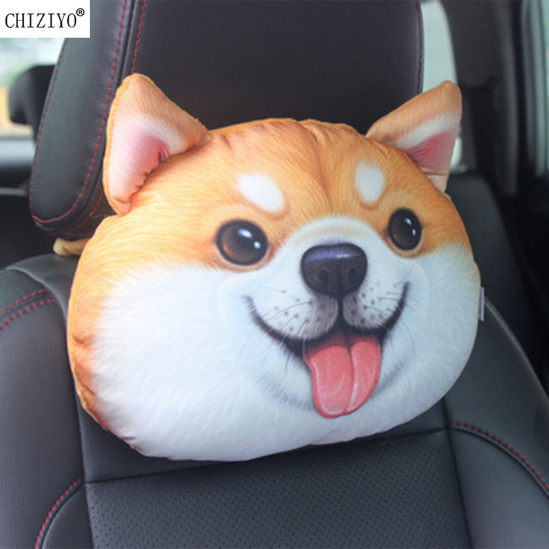 CHIZIYO Car Seat Lovely 3D Printed Teddy Dog Animals Face Car Neck Pillow Auto Safety Headrest Cushion Drop Shipping