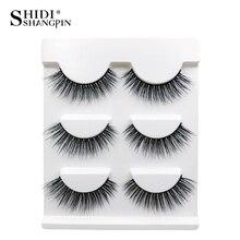 SHIDISHANGPIN 3 pairs Mink Eyelashes Natural Long 3d Lashes Makeup False Eyelash Extension faux cils maquiagem 10