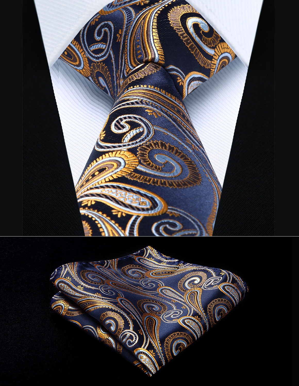 Party Hochzeit Klassische Einstecktuch Krawatte TP823V8S Marineblau Gold Paisley 3,4
