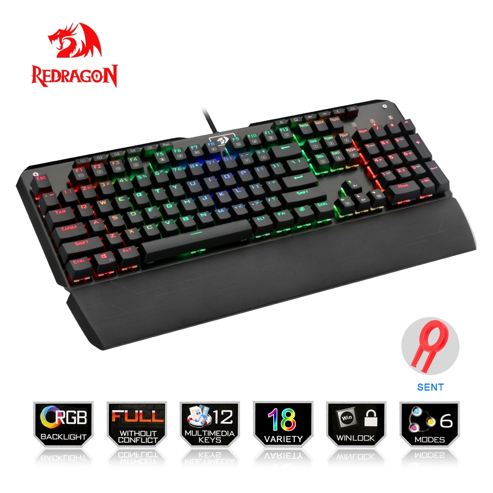 Redragon USB mechanical gaming keyboard ergonomic RGB LED backlit keys Full key anti-ghosting 104 wired Computer gamer K555RGB mechanical gaming keyboard optical connection switch rgb backlit anti ghosting waterproof usb wired pro gamer russian stickers