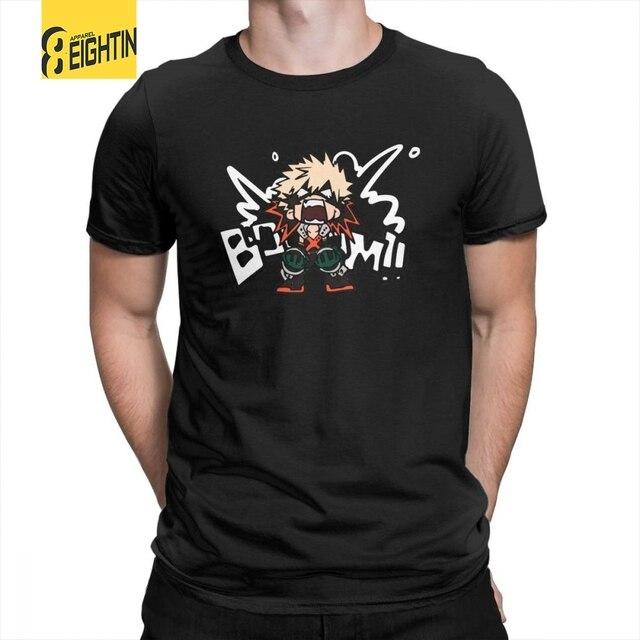 b6e51986e My Hero Academia Katsuki Bakugo Booom O-Neck Pure Cotton Tee Shirt Cartoon T  Shirts Men's Short-Sleeved T-Shirts Charm Fun Plus