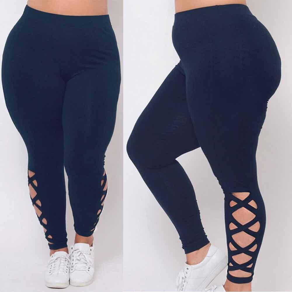 Tight Women 3XL Plus Size Leggings Navy Criss-Cross Hollow Out Sport Pants sports Sweatpants Workout Gym Run Trousers
