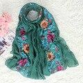 Estilo étnico Bordado Mulheres Chinesas de Algodão Elegantes Da Flor do Xaile do Lenço Roubou Cabo Primavera Outono Vintage Envoltório Hijab 180*80 cm