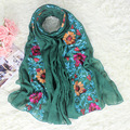 Ethnic Style Embroidery Chinese Women Cotton Scarf Shawl Classy Flower Stole Cape Spring Autumn Vintage Wrap Hijab 180*80 cm