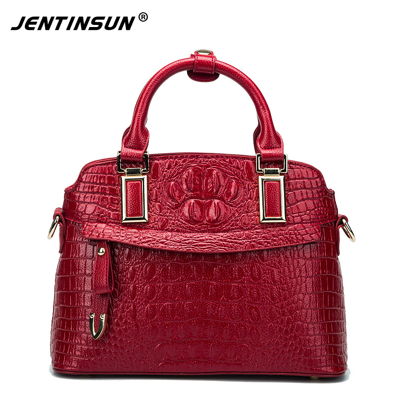 2017 Women Genuine Leather Handbags Crocodile Pattern Shoulder Bag Women Famous Brands Crossbody Messenger Bags famous brands top quality women genuine leather bag fashion women handbags shoulder bag rivets owl pattern messenger bags