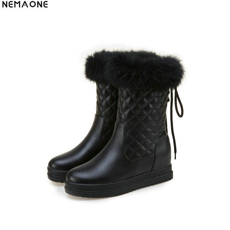 NEMAONE New winter snow boots thick fur inside platform shoes woman low heel women ankle boots female shoes large size 42 43 стоимость