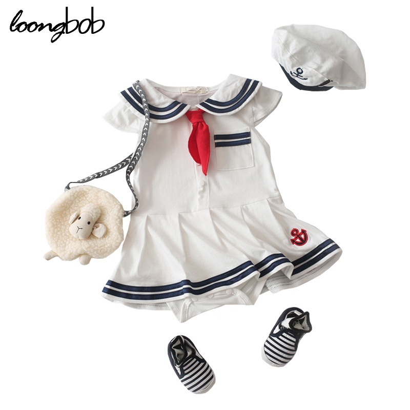 HOT New Born Baby Clothing Navy Style New Baby Romper Cute Girl White Rompers Infant Romper Suits Toddler kawaii Clothes summer