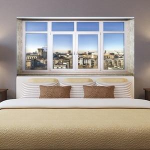 Image 5 - City Town Sence Bed Head Sticker Fake White Glass Window Wall Sticker Creative Arts Wall Stickers Art Wall Sticker Home Decor
