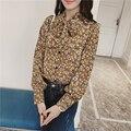 Primavera Verão Nova Blusa de Chiffon Eleglant Senhora Vintage Floral Camisa Solta das Mulheres Bow Tie Collar Boho Casual Blusas 2017 S-XL
