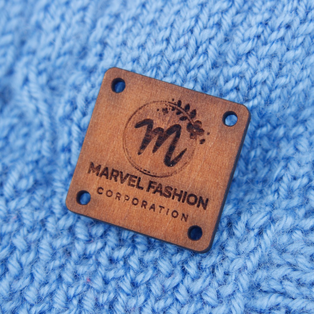 Custom Wood Tags,  Engraved Knitting Buttons,  Laser Cut Logo Engraved (WDBQ006)