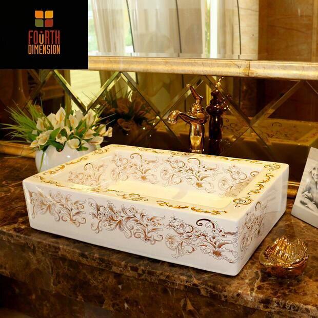 Rectangular Artistic Porcelain Square Ceramic Bathroom Sink Countertop Wash  Basin(China (Mainland))