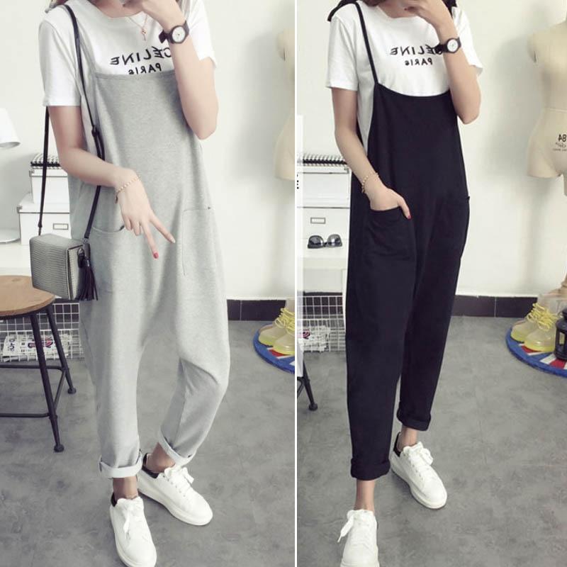 Maternity Bib Pants Pregnant Trousers Belt Plus Size XXXL Clothes-For-Fat-Women Pregnant-Overalls Jumpsuit Solid Color Women new jardineiras coreanas femininas