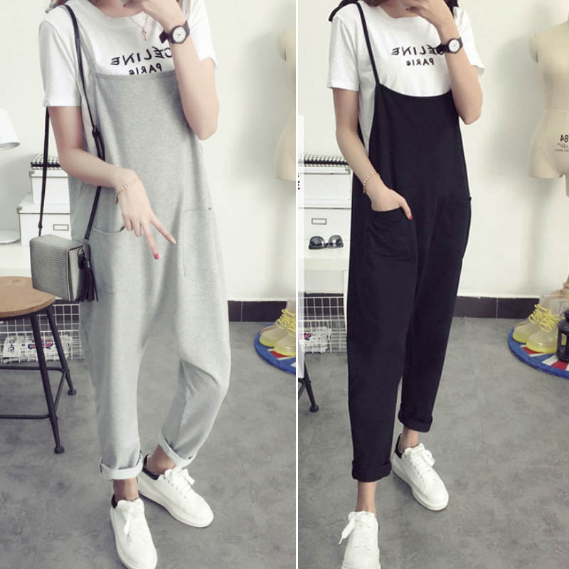Maternity Bib Pants Pregnant Trousers Belt Plus Size XXXL Clothes-For-Fat-Women Pregnant-Overalls Jumpsuit Solid Color Women new