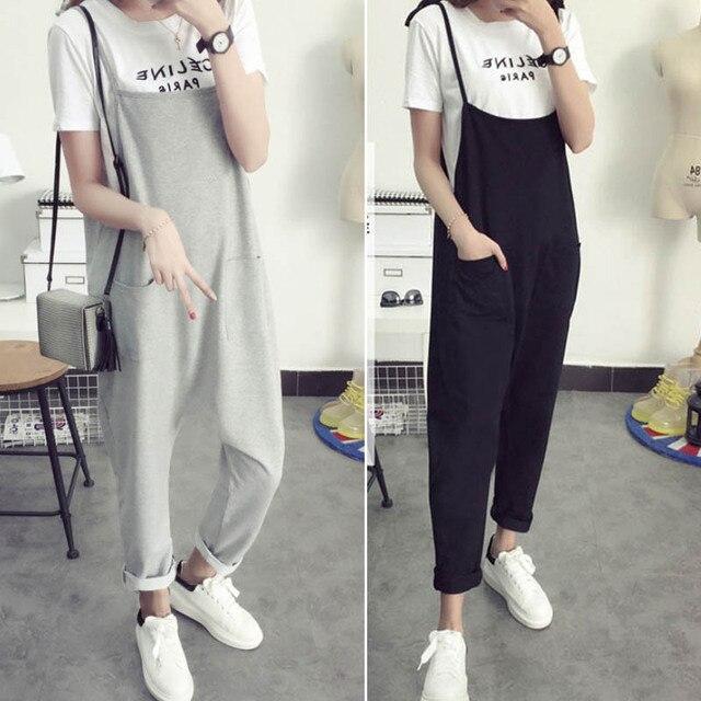 Maternity Bib Pants Pregnant Trousers Belt Plus Size XXXL Clothes-For-Fat-Women Pregnant-Overalls Jumpsuit Solid Color Women new