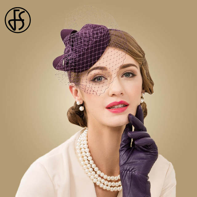 2e48ca4d45e Detail Feedback Questions about FS 100% Wool Pillbox Hats With Veil For Women  Fedora Purple Wedding Dress Hat British Style Fascinator Ladies Sinamay Hats  ...