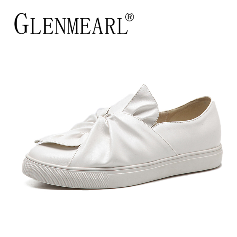 Brand Women Flats Loafers Shoes Woman Thick Bottom Platform Black White Bow Single Casual Comfort Ladies