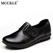 MCCKLE Mujeres Flat Slip-On de Cuero Genuino Gancho Bucle Oficina Otoño Calzado Casual Zapatos 2017 Plataforma de La Moda Femenina Negro