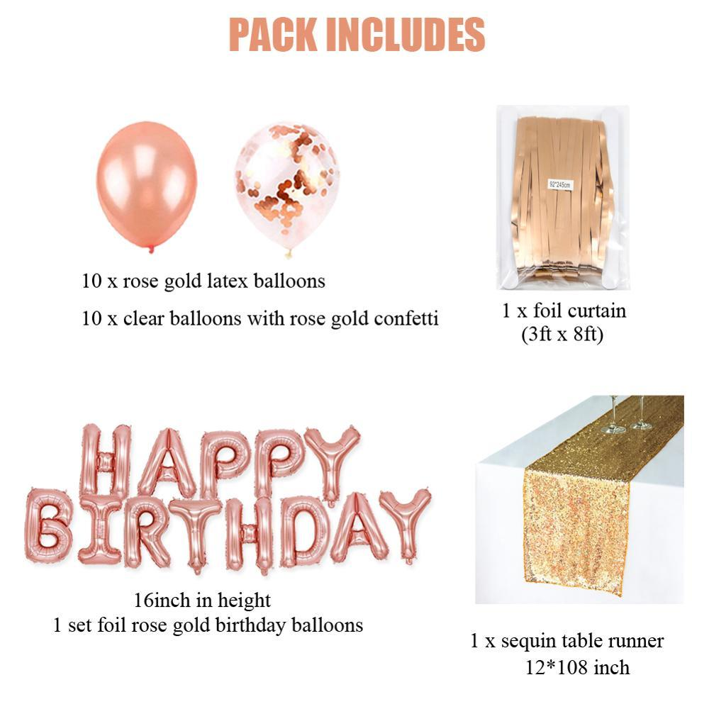 Rose Gold Birthday Party Decorations Foil Ballons Curtain Latex Balloons Table Runner Baby Birthday Decor Supplies in Party DIY Decorations from Home Garden