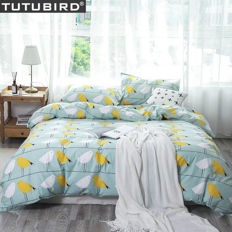 Ensemble de literie imprimé oiseau couvre-lit catoon 100% coton style cartoon doux housses de couette animal couette linge de lit drap taie d'oreiller 4 pièces
